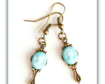 Mirror blue Bronze cameo earrings