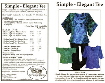 Pattern - Simple Elegant Tee Pattern - CNT Pattern Company (CNT2601) Apparel Pattern