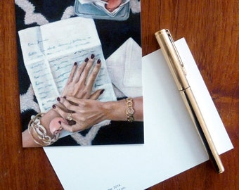 Postcard set of 3  //  Love Letter // Frau Süß series // From Original Acrylic Painting // Food Art // Cynthia Katz