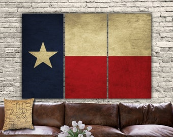 Texas State Flag on Canvas - 3 panel set. Or choose any US State Flag. Vintage art, large Canvas Art, Texas Flag, Lone Star State Flag