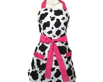 Classic Women's apron, valentine's day gift, pink ties, bridal shower gift, mother's day gift, retro, Black and white cow print