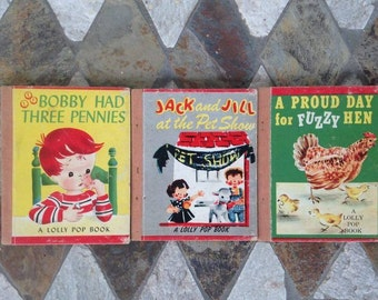 Vintage Book Set Bundle of 3 Lolly Pop Books Collection 1949
