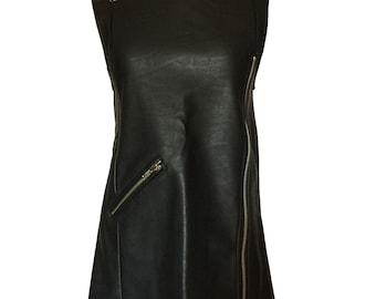 Vintage 1990s Black Vegan Leather Zipper Mini Dress Mod PVC Faux Leather Goth Grunge Biker Babe Tunic Mini Dress