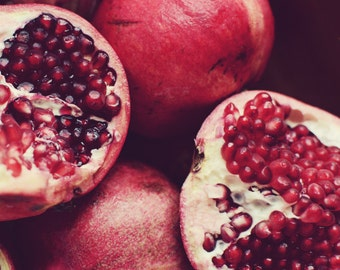 """Pomegranate art print - food photography - red kitchen wall art - fruit still life print - dining room decor """"Red Gems"""""""
