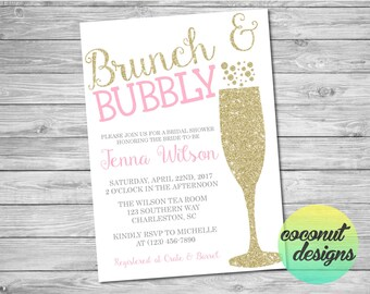Brunch and Bubbly Invitation / Bridal Shower Invitation / Pink and Glitter / Brunch and Bubbly Bridal Shower / Digital File