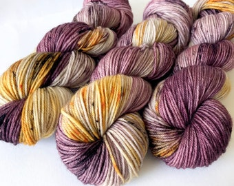 HARVEST. hand dyed yarn, purple yarn. gold yarn, superwash merino yarn, soft yarn, unique yarn, baby knitting yarn