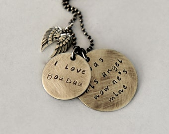 Father daughter gift etsy loss of dad necklace daughter and dad quote angel wings necklace in memory mozeypictures Choice Image