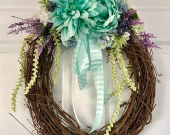 Spring / Summer Floral Wreath for Front Door
