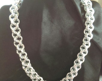 Chunky Chain Maille Silver Aluminium Necklace