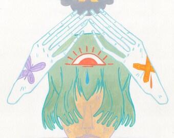 Wonder Lost - impression d'art 11 x 14 po. | pastel goth arc en ciel couleur nuage humeur