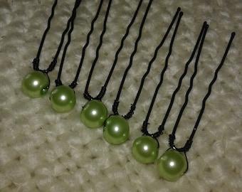10 hair pins, pearls Pearly light green metal black 48mm