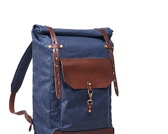 Navy blue wax canvas backpack, Roll top canvas leather backpack for laptop. Waxed cotton rucksack. Travel backpack