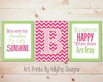 Pink green girls room decor Girl nursery art You are my sunshine Pink sunshine wall art Monogram print Baby girl wall art Sunshine art #0600