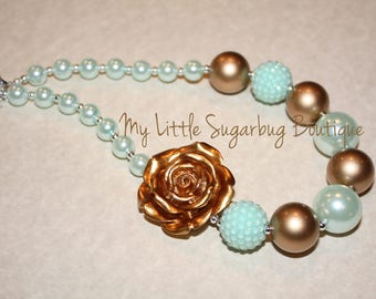 Mint and Gold Chunky Necklace-Gold Rose-Bubblegum Necklace-Baby-Toddler-Girls-Women