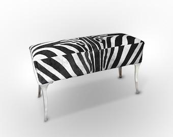 Zebra Cowhide Bench. Amazing Design! Unique!