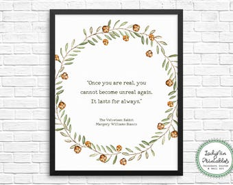 Velveteen Rabbit Quote, Nursery Decor, Velveteen Rabbit, Printable Nursery Decor, Downloadable Gift, Digital Download, Literary Printable