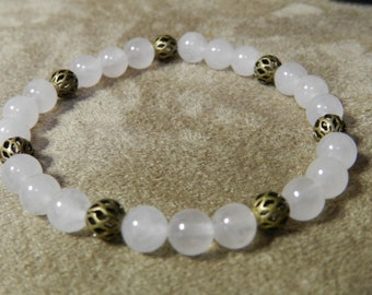 Rose Quartz Gemstone with Antique Gold Fancy Beads, Stretch Bracelet, 6mm