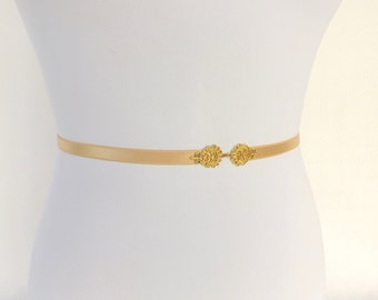 Gold Elastic Waist Belt. Skinny waist belt. Gold filigree buckle. Bridal / Bridesmaid belt.