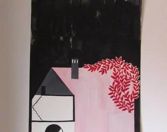 pink house . original illustration by ana frois