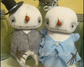 RESERVED for CLAUDETTE Snowfolk Snowman Couple doll Whimsical Christmas winter Blue Low Brow Art Gothic country decor Primitive HaFair OFG