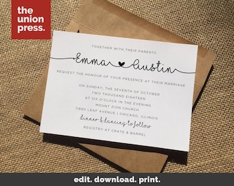 Wedding Invitation Template, Printable Wedding Invitations, Wedding Invite Template