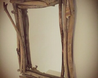 Mirror with marine wood frame