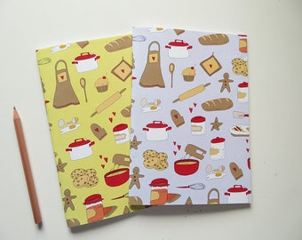Yellow & Light Blue Recipe Books - Blank A5 Notebooks - Blank Pages Journal - Cookbook