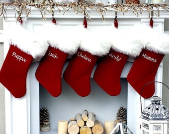 """PREORDER Personalized Christmas Stockings Velvet 19""""  Luxury Faux Fox Fur Cuff Christmas Stocking Embroidered with Names Velvet Stockings"""