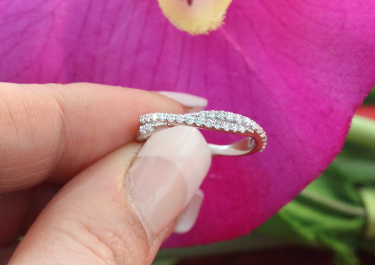 14K Micro Pave Twist White Gold Diamond Wedding Ring