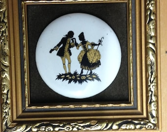 hand made enamel on copper by P.G.Collins,gilt framed miniature