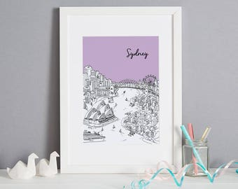 Personalised Sydney Print | Unique Wedding Gift | Custom Gift | Sydney Picture | Sydney Art | First Anniversary Gift | House Warming Gift