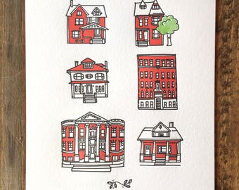 Letterpress Art Print, Detroit Homes 5x7