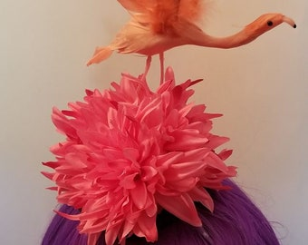 Flamingo, Flamingo hat, Pink, Pink hat, Pink flamingo, Kentucky Derby, Tiki, Tiki Oasis, Pinup, Rockabilly
