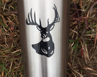 Yeti 20 oz, Men's Gift Idea, Stainless Steel, Mug Holiday Deer Hunter Personalized Vinyl, Large Ounce, Coffee Cup, Sale Affordable, Birthday