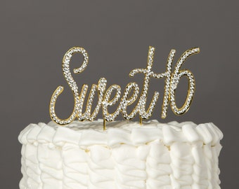 Sweet 16 Cake Topper, 16th Birthday Gold Rhinestone Number, Sixteenth Decoration, Sixteen Party Supplies, Decoration Ideas, Centerpiece