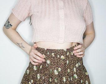 80s 90s metallic pink crop knit short sleeve crop top cardigan size s