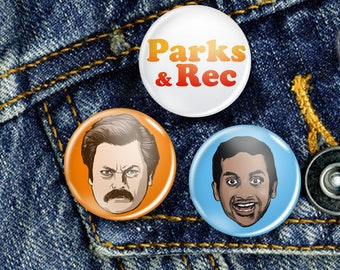 Parks and Recreation Cult TV Pin Button Badge Set 3 x 25mm Badges or Individual. Ron Swanson, Rec