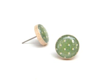 Moss Green Stud Earrings • Polka Dot Post Earrings • Gifts For Her • Simple Everyday Earrings • Dainty Earrings