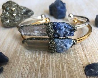 Sapphire jewelry, September birthstone jewelry, blue sapphire, raw sapphire bracelet, birthstone bracelet, gemstone bracelet, best selling,