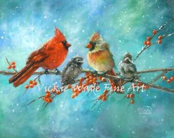 Cardinal Family Art Print, cardinal paintings, red birds, winter birds, snow birds, cardinals wall art,Christmas birds, teal Vickie Wade art