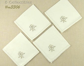 Madeira Linen Napkins Set of 4 with Embroidered Flower in Corner  (Inventory #M3306)