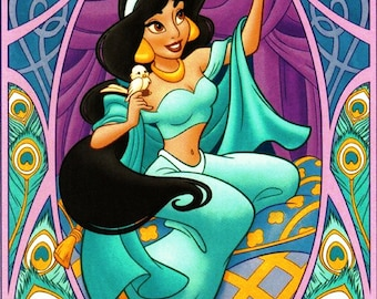 BUY 2, GET 1 FREE! Disney Princesses- and Art Nouveau Jasmine Cross Stitch Pattern Counted Cross Stitch Chart, Pdf Format, 192275