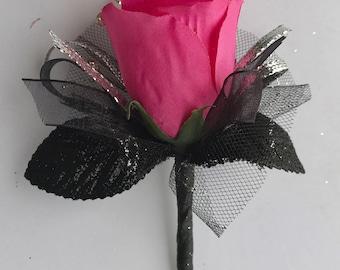 Shocking Pink Silk Rose Boutonnière