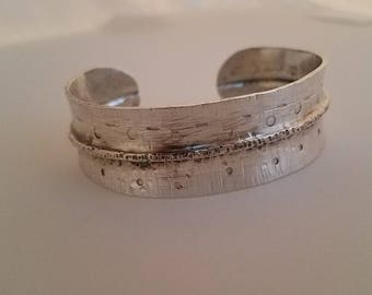 Sterling Silver Ladies Cuff Bracelet - Hand forged, fold-form, hammered & warm patina. Bold jewelry for bold women.