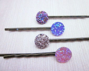 Purple Hair Jewelry -- Resin Hair Jewelry -- Set of Purple Pins -- Purple Hair Pin Set -- Purple Button Hair Pin -- Purple Glitter Hair Pins