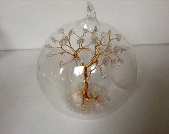 Birthstone Christmas Tree Decoration. April Birthstone Gemstone Tree Glass Bauble. Quartz Wire Sculpture Gold wire. Crystal clear