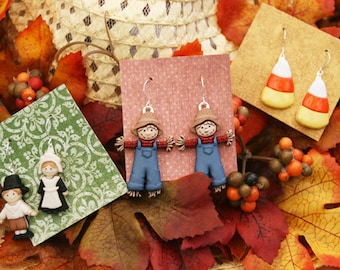 thanksgiving earrings candy corn scarecrow pilgrim autumn fall jewelry holiday fall earrings thanksgiving accessories Thanksgiving jewelry