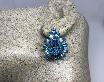 Vintage Mixed Genuine Blue Topaz Gemstone filigree 925 Sterling Silver earrings