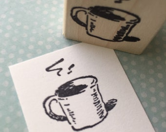 Steaming  Cup of Joe Mounted Rubber Stamp