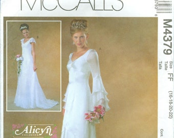 2004 Misses' Wedding Gown Dress with Overskirt and Train Uncut Factory Fold Size 16, 18, 20, 22 - McCall's Sewing Pattern 4379
